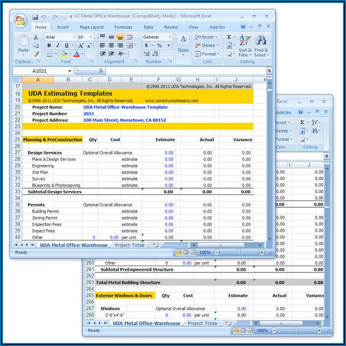 House Construction Cost Estimate Excel Template