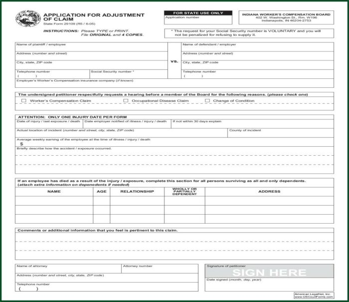 Indiana Workers Compensation Clearance Form