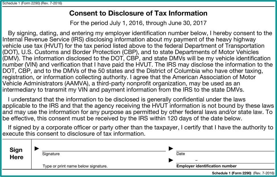 Internal Revenue Service Form 2290 Instructions