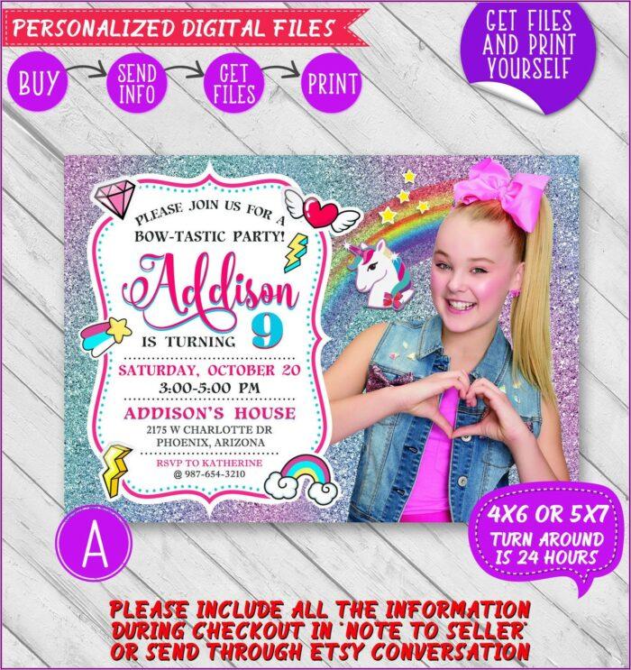 Jojo Siwa Birthday Invitations Online