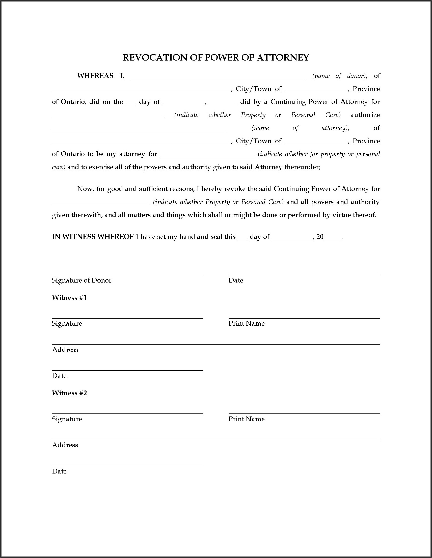 Limited Power Of Attorney Form Alberta