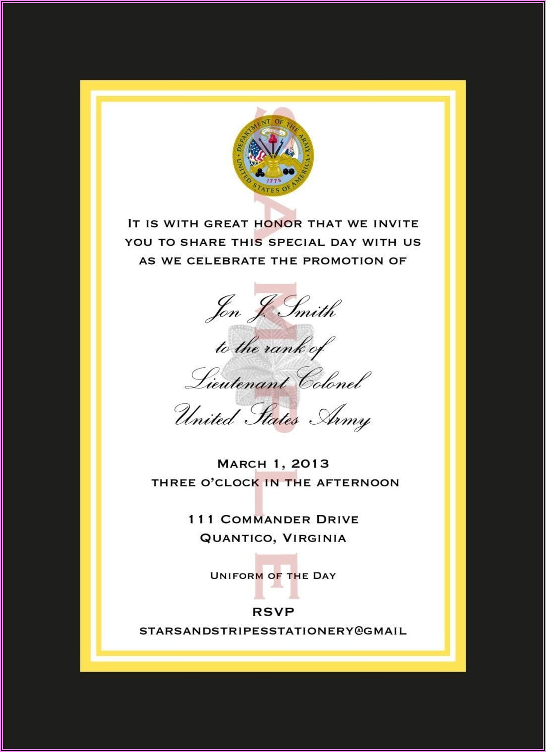 Military Retirement Ceremony Invitation Wording