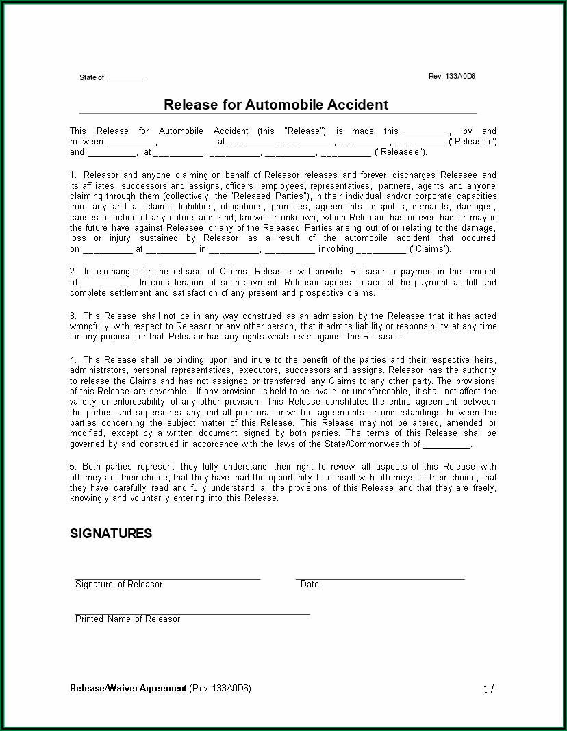Motor Accident Private Settlement Agreement Form