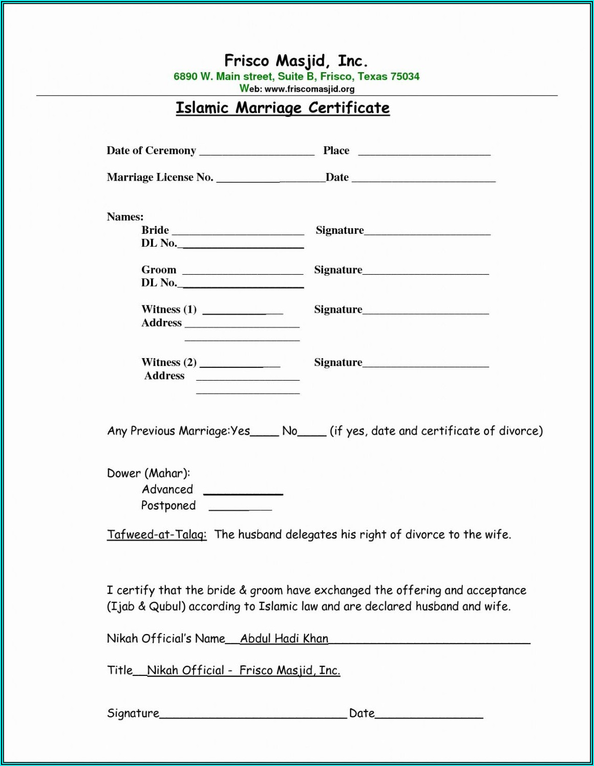 Muslim Marriage Contract Sample