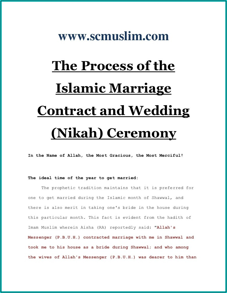 Muslim Marriage Contract Template