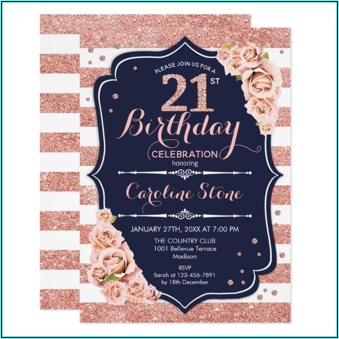 Navy And Rose Gold Birthday Invitations