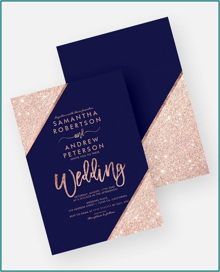 Navy And Rose Gold Invitations