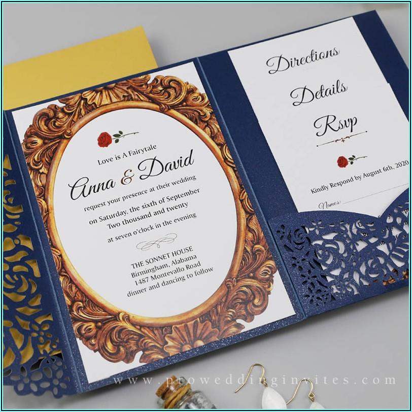 Navy Lace Wedding Invitations