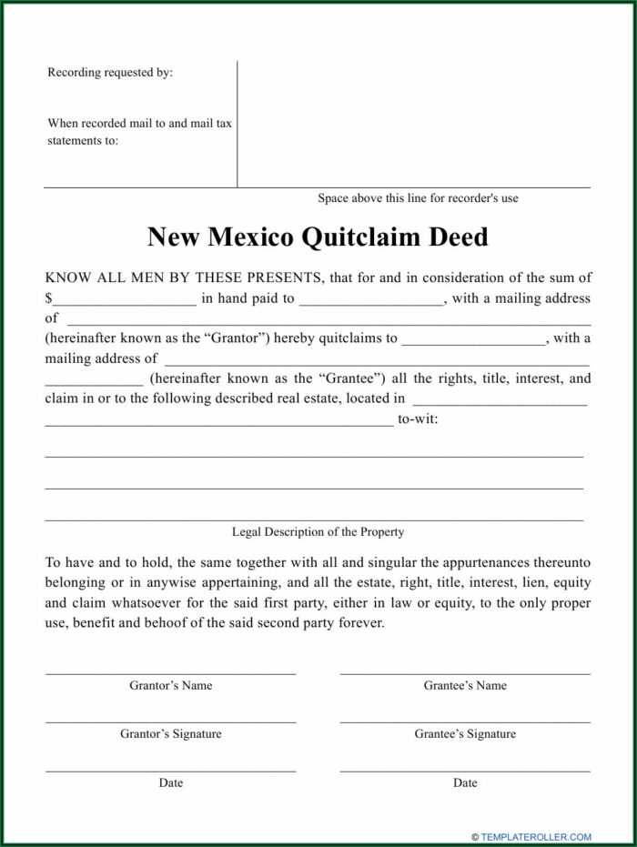 New Mexico Quit Claim Deed Form Pdf