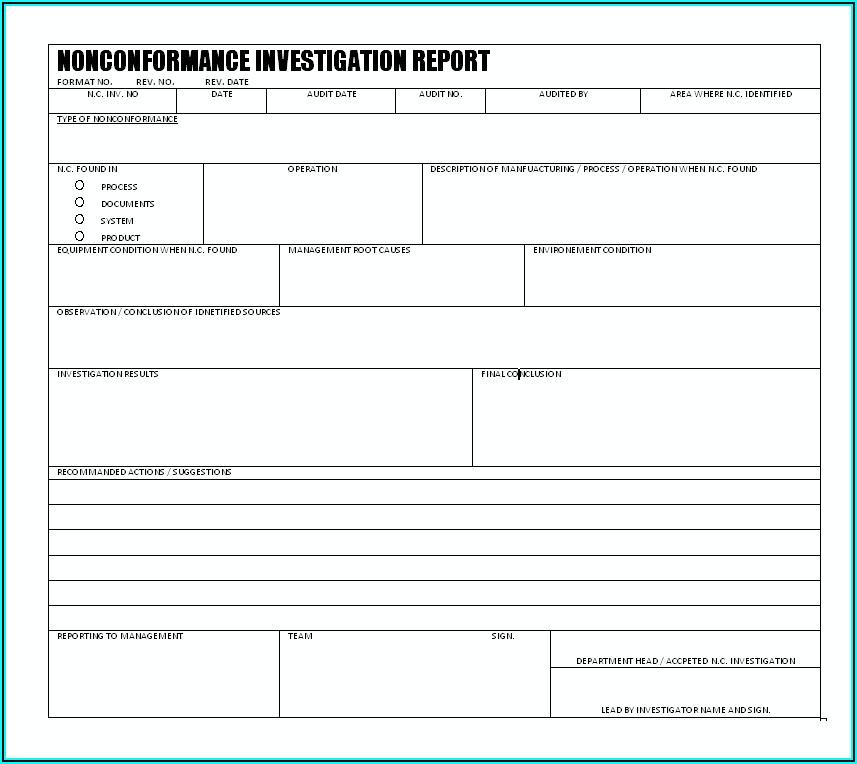 Non Conformance Report Form Iso 9001 Pdf