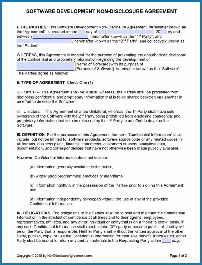 Non Disclosure Agreement Example Pdf