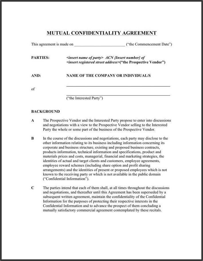 Non Disclosure Agreement Sample Doc