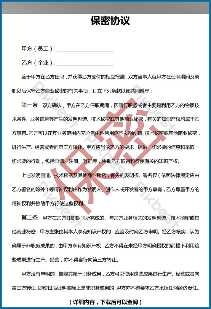 Non Disclosure Agreement Template Docx