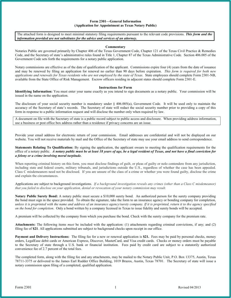 Notary Public Application Form Texas