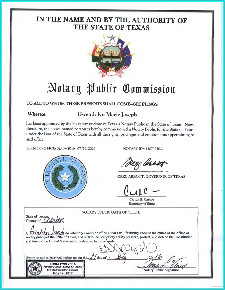 Notary Public Commission Certificate Texas