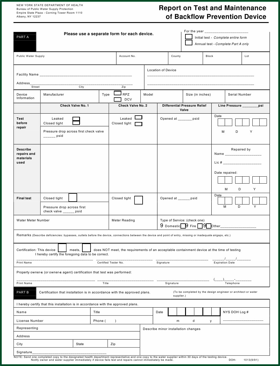 Nys Backflow Test Form