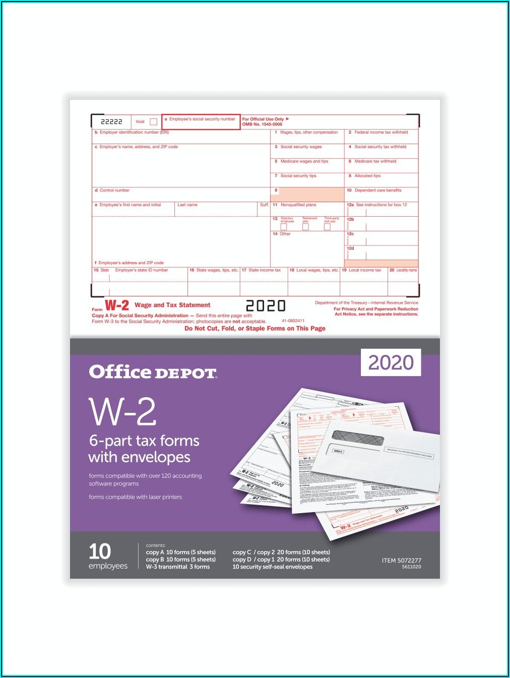 Office Depot W2 Forms 2020