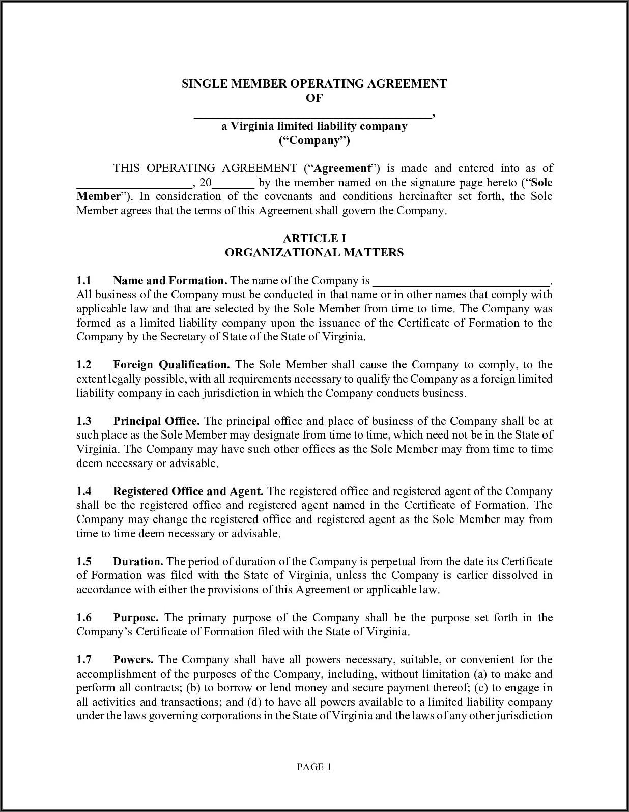 Operating Agreement For Single Member Llc Virginia Template