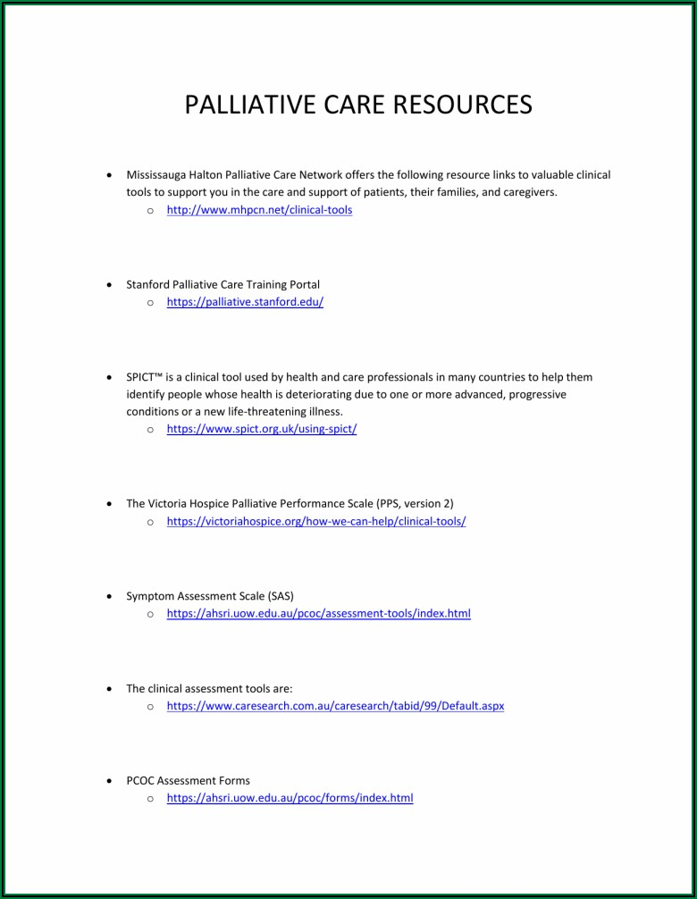 Palliative Care Assessment Forms