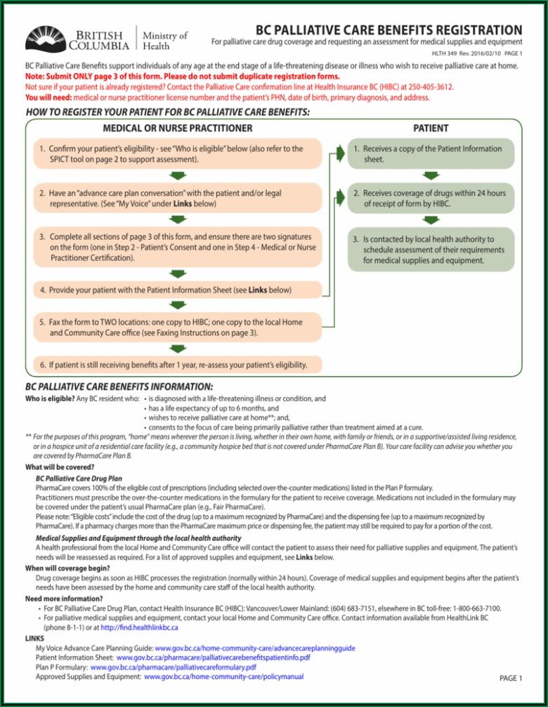 Palliative Care Forms Bc