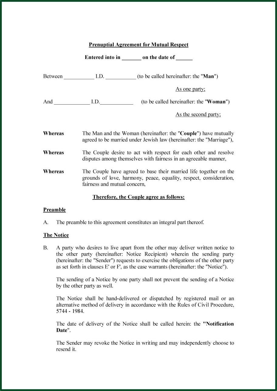 Pdf Free Printable Prenuptial Agreement Form