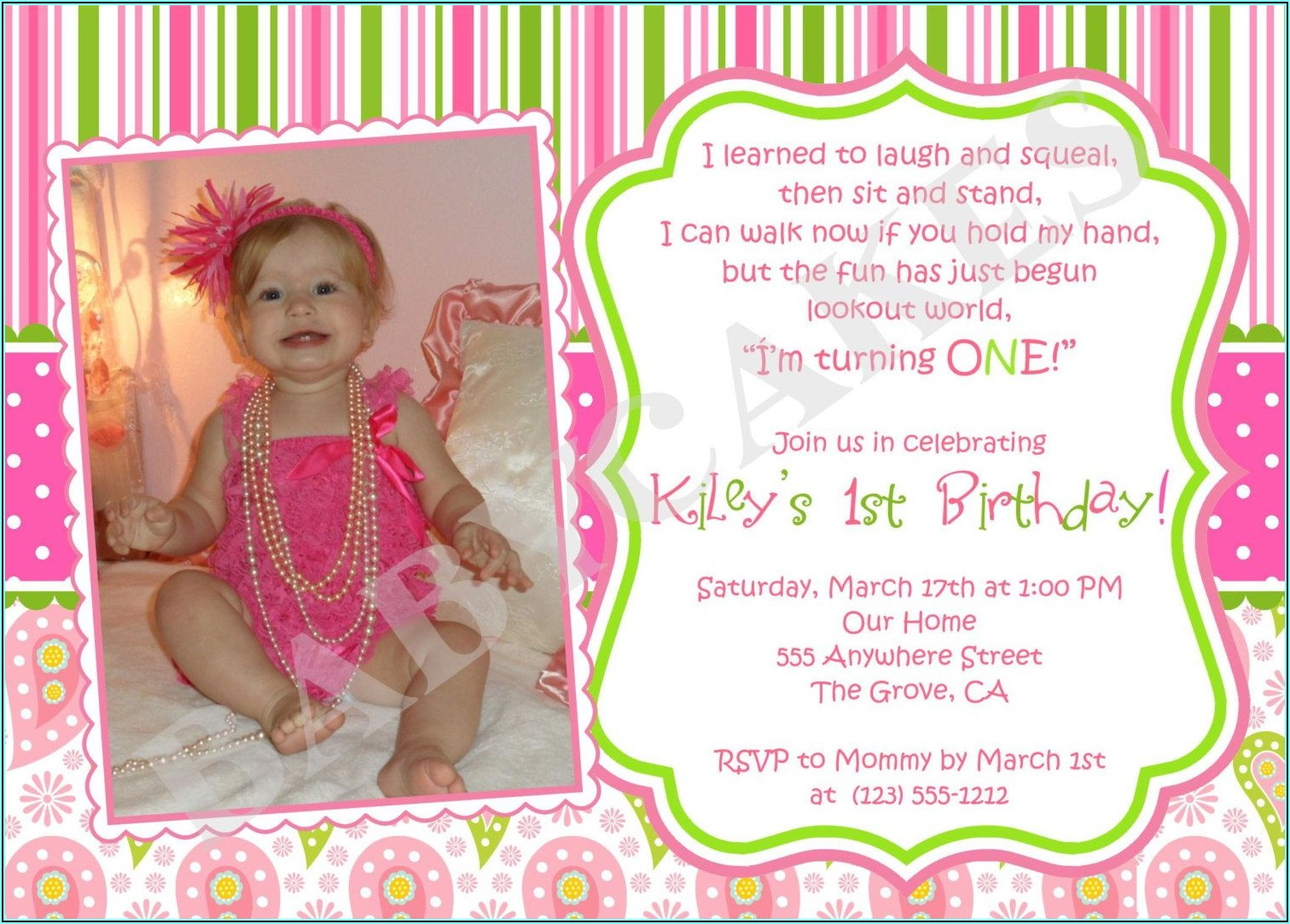 Personalized Baby Girl's 1st Birthday Invitations