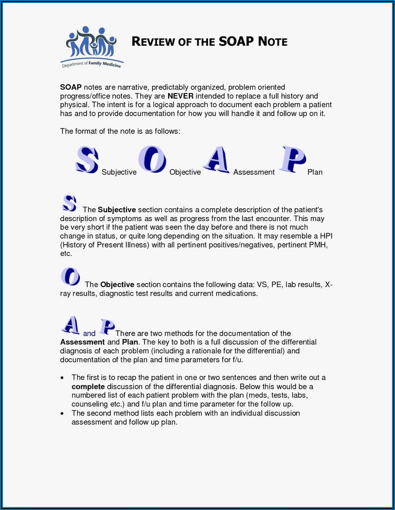 Physical Therapy Soap Note Template