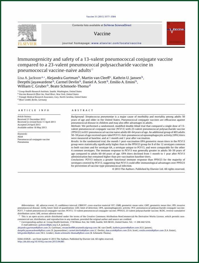 Pneumococcal Vaccine Consent Form