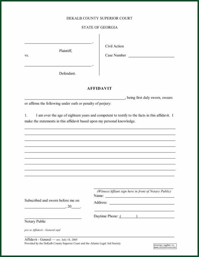 Printable Affidavit Form Pdf