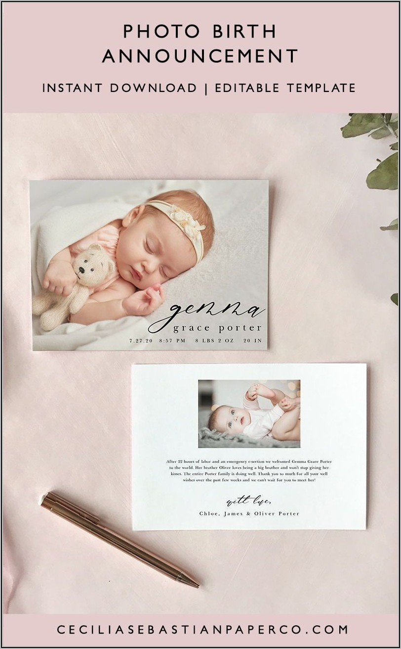 Printable Baby Announcement Template