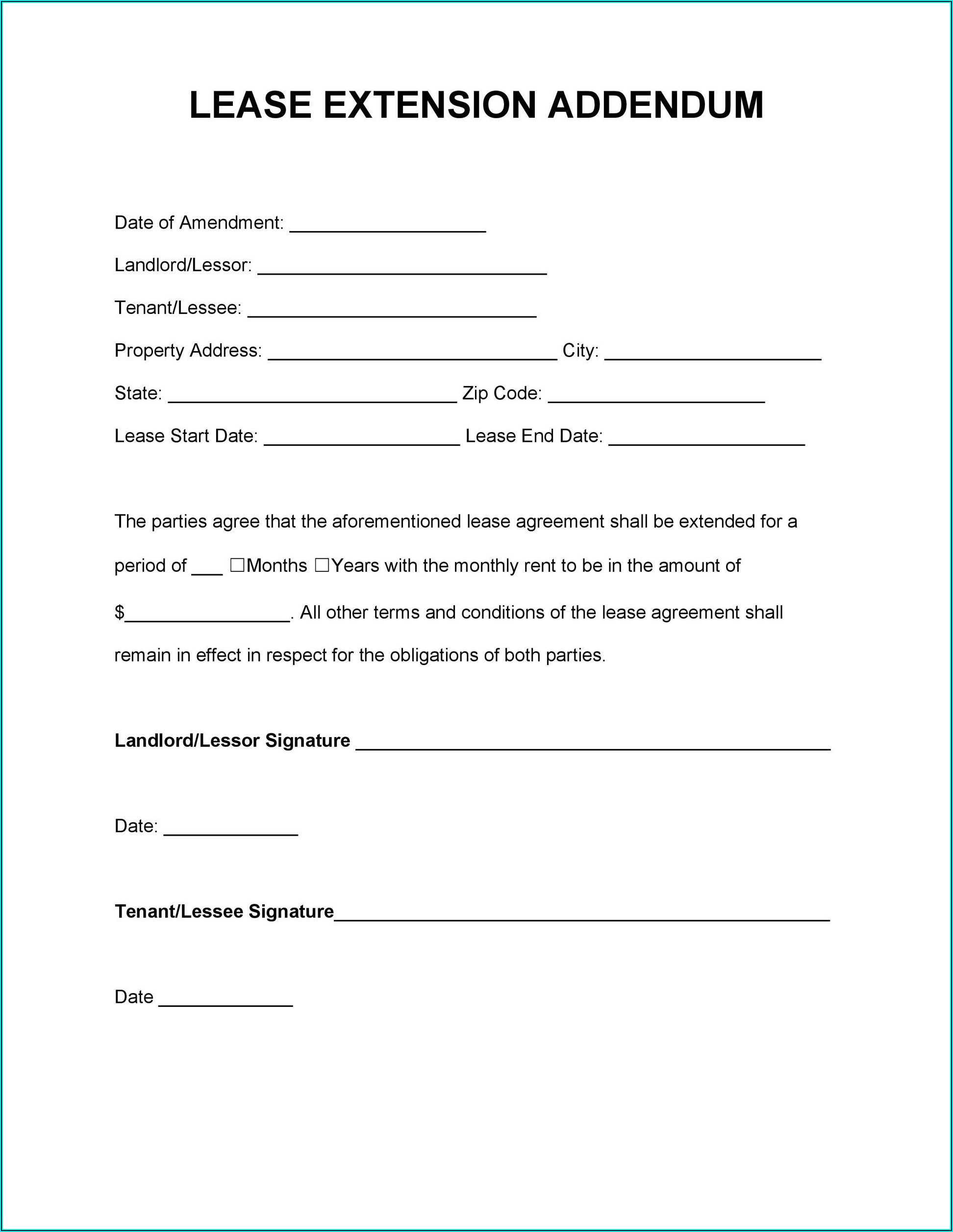 Printable Blank Lease Agreement Form