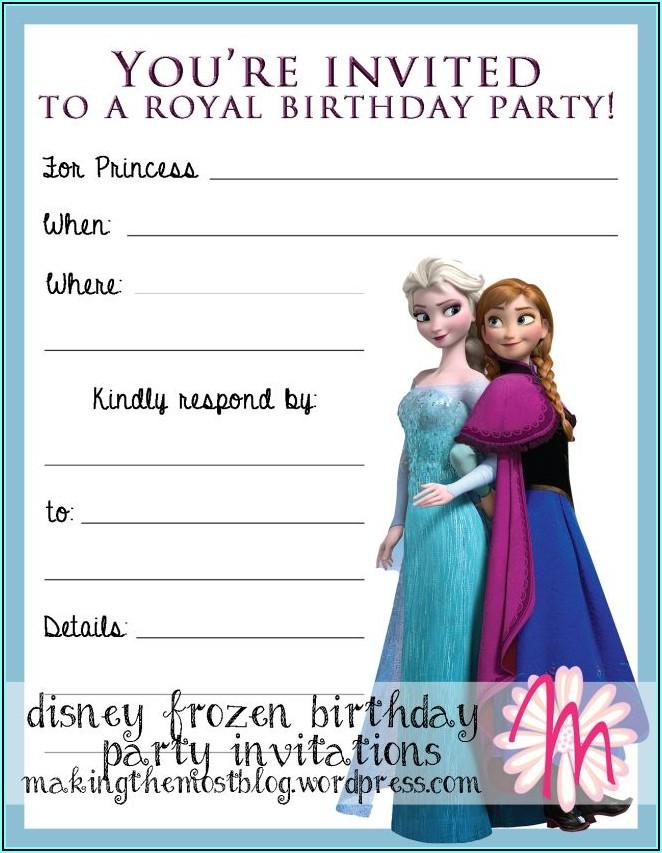 Printable Frozen Birthday Party Invitations
