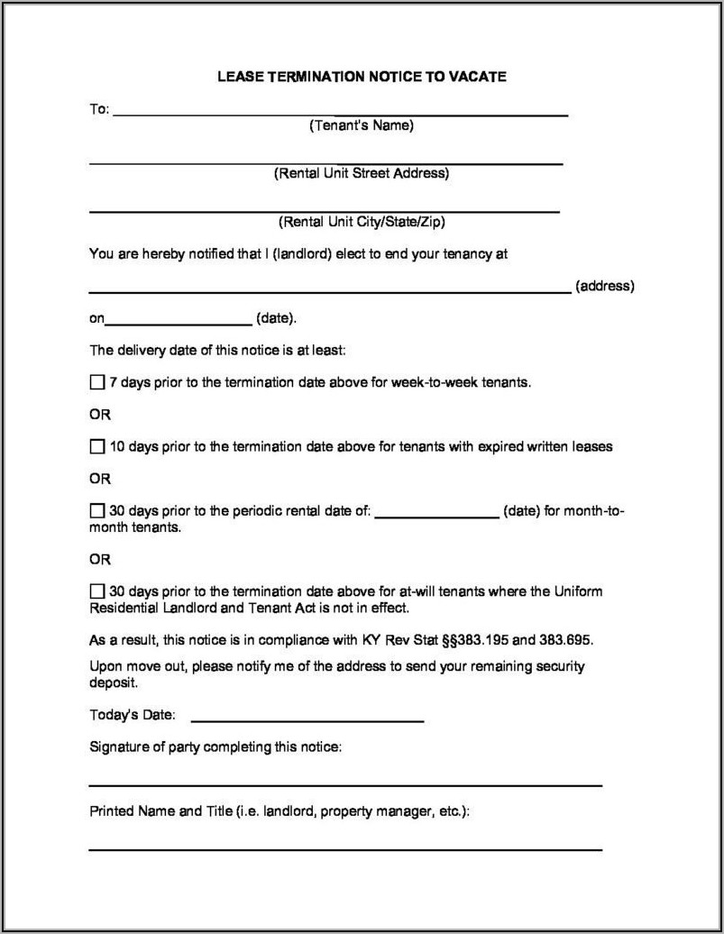 Printable Kentucky Eviction Notice Form
