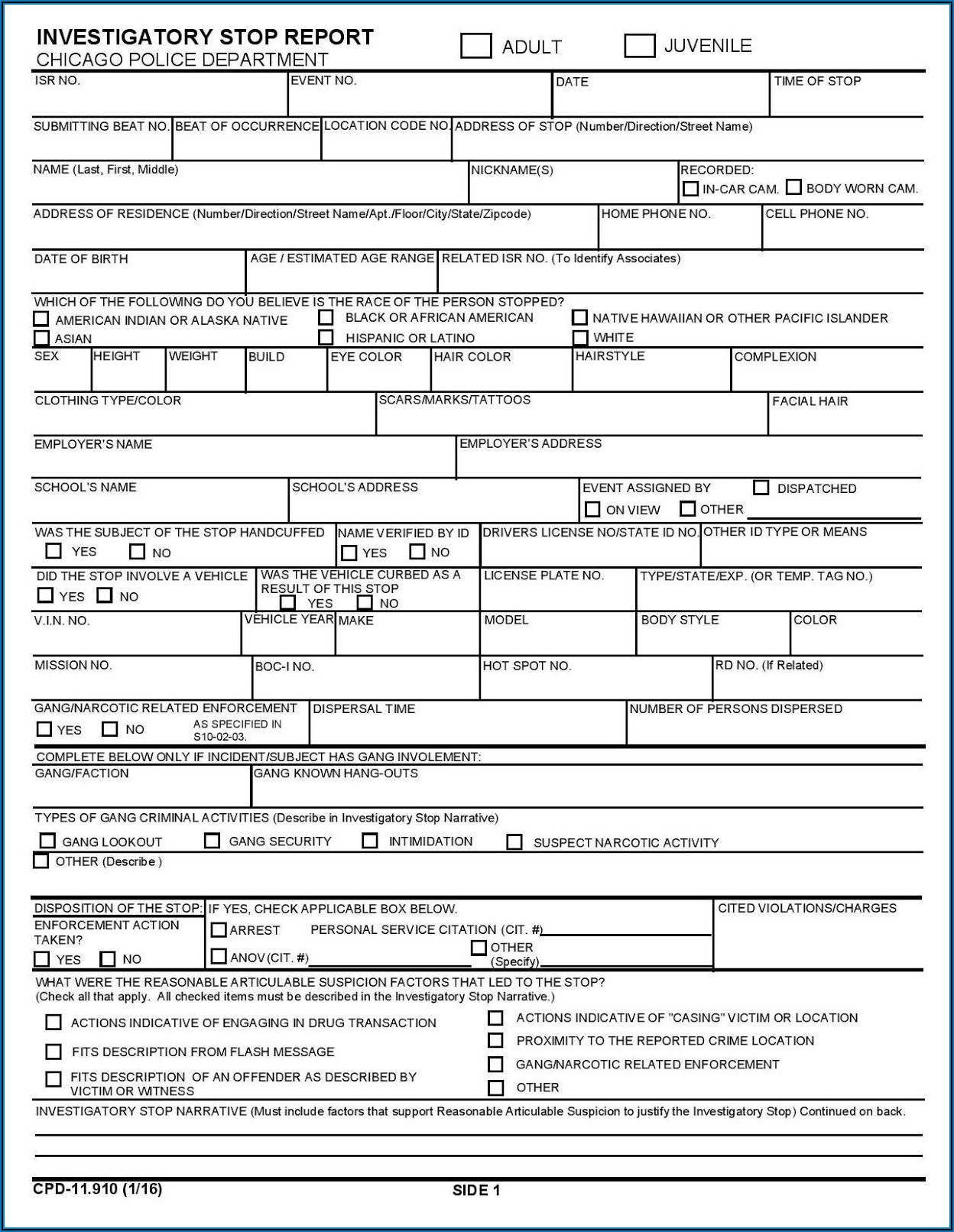 Printable Police Ticket Template
