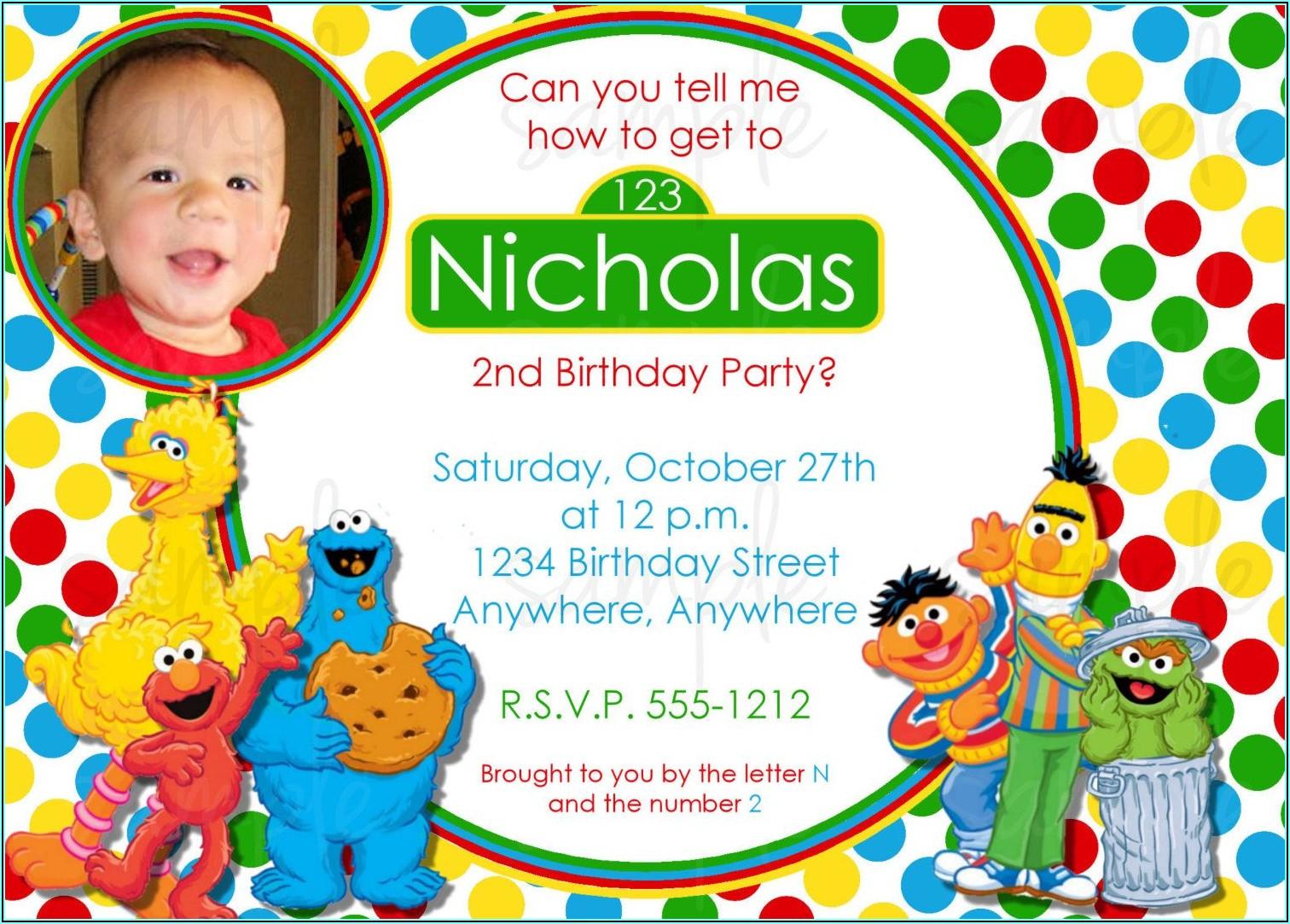 Printable Sesame Street Birthday Invitations