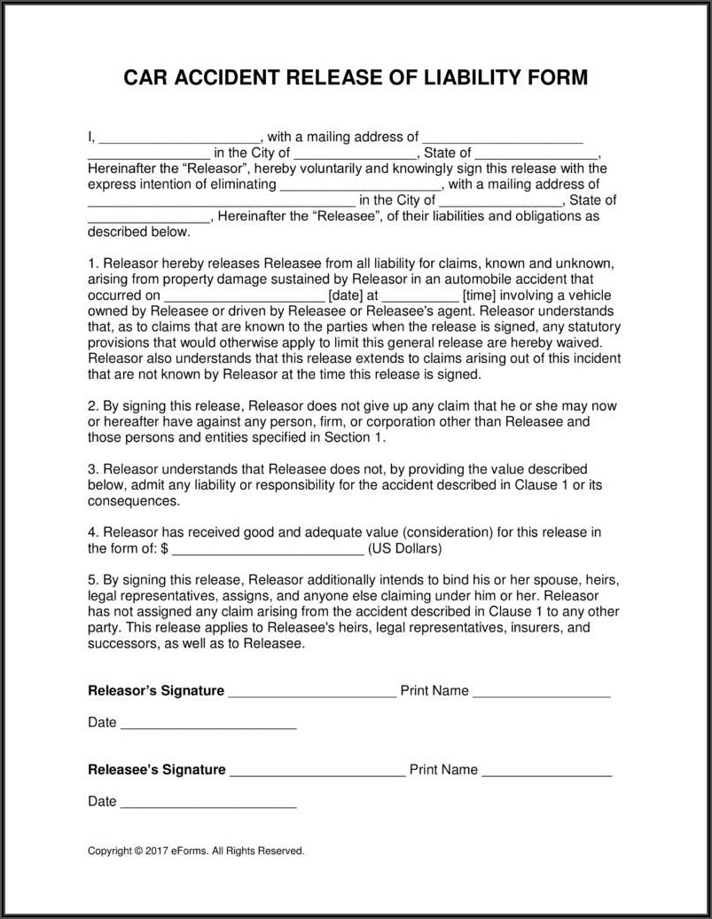 Private Party Car Accident Settlement Form