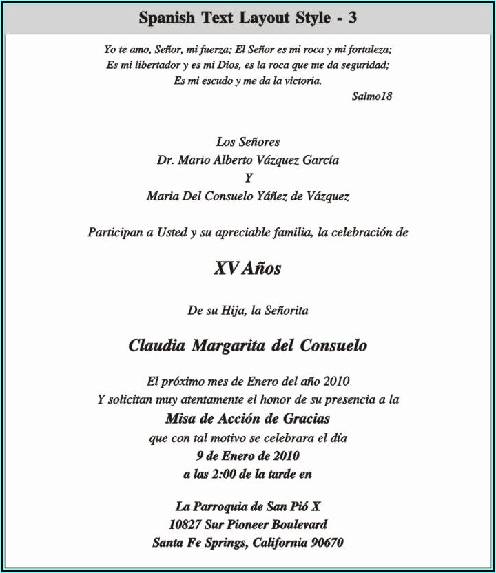 Quince Invitation Wording In Spanish