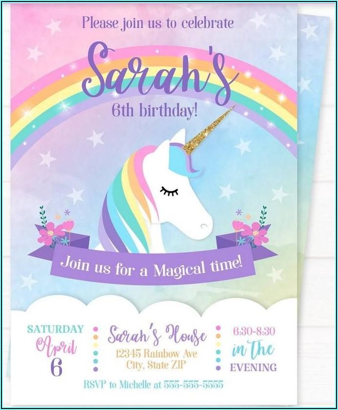 Rainbow Unicorn Invitation Template Free
