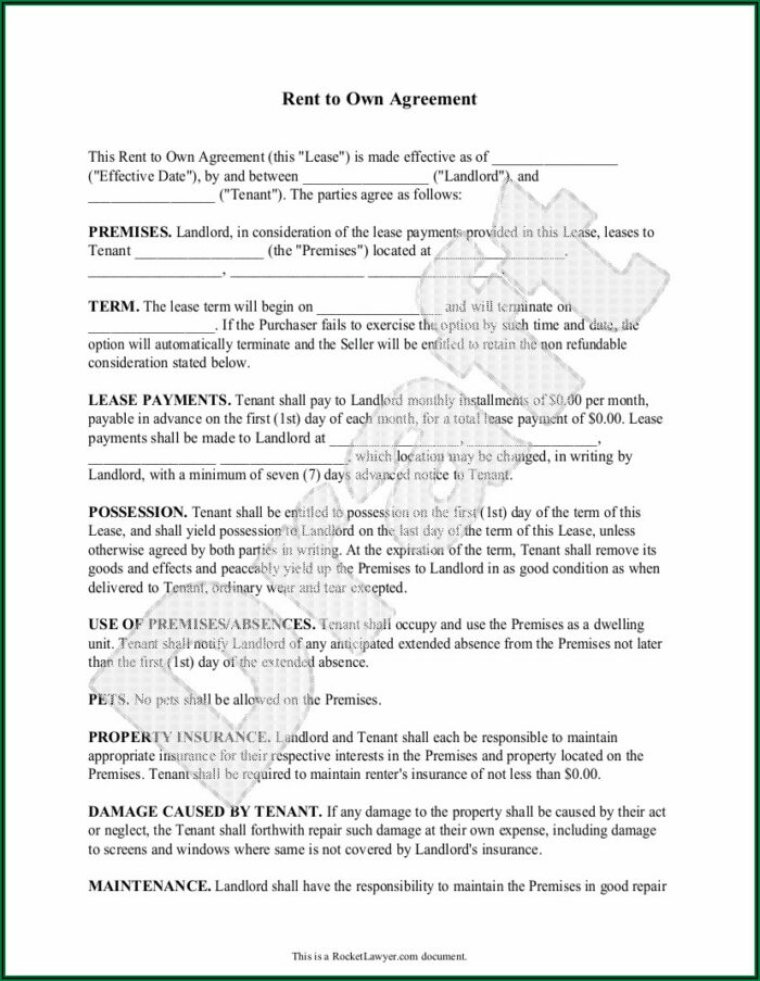 Rent Lease Contract Sample