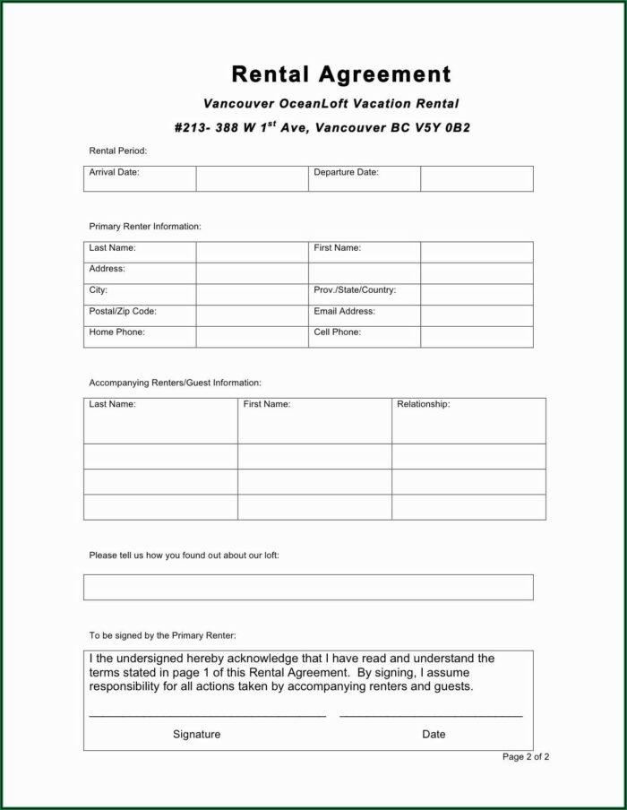 Rental Agreement Form Free Editable