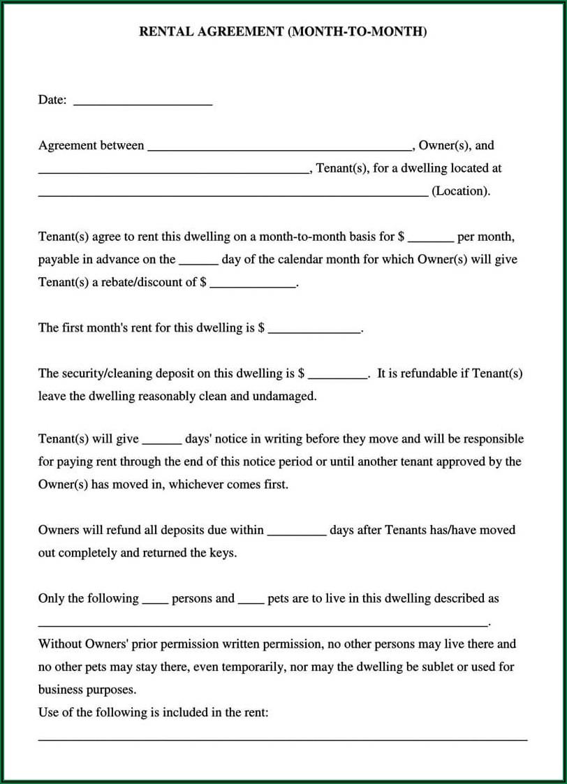 Rental Agreement Form Free