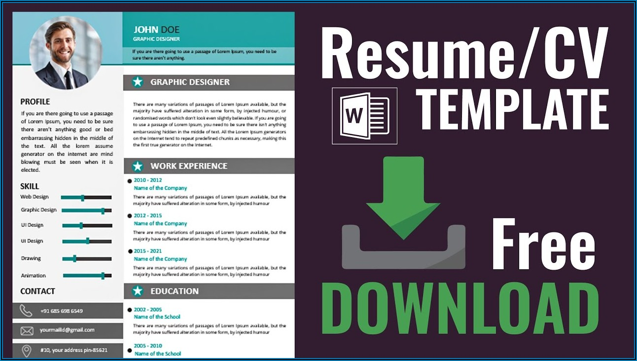 Resume Template Doc Free Download