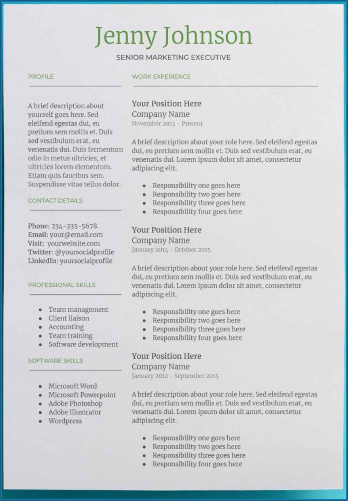 Resume Templates Google Docs Free Download