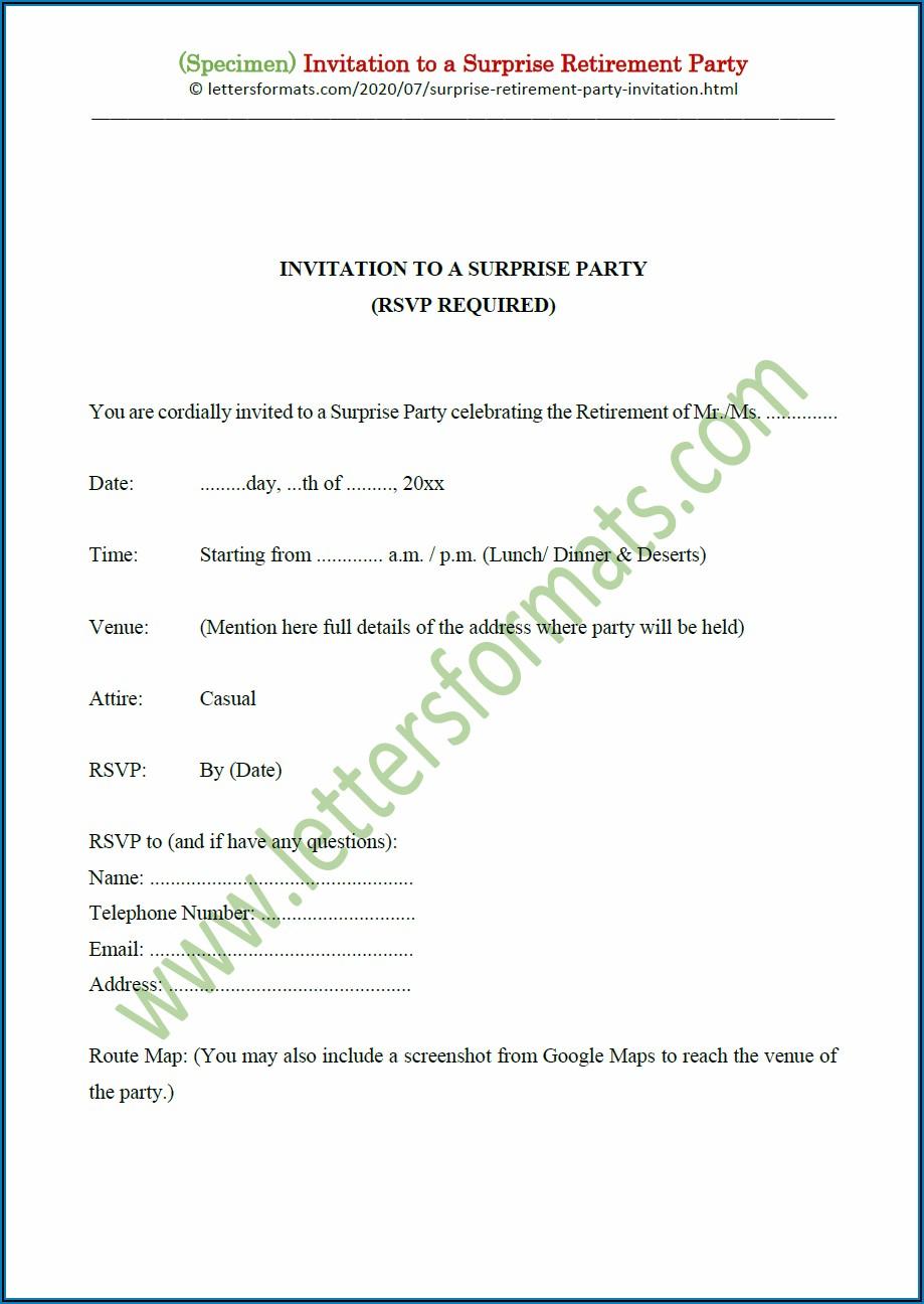 Retirement Party Invitation Letter Template