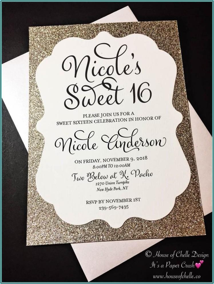 Rose Gold Sweet 16 Birthday Invitations