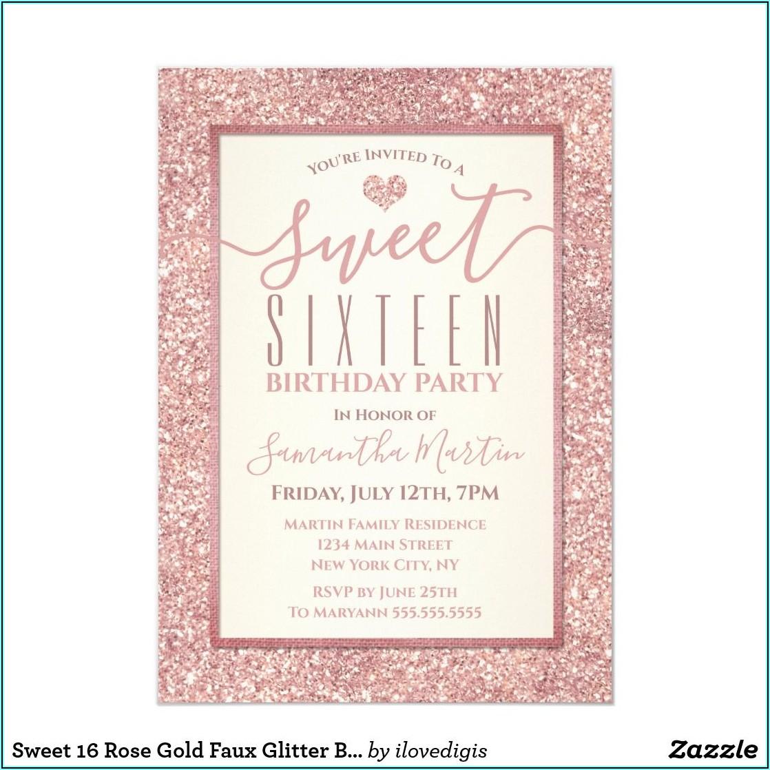 Rose Gold Sweet 16 Invitation Templates