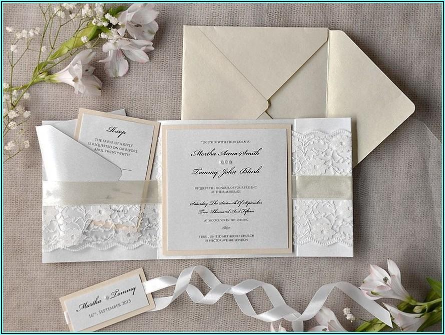 Rustic Lace Wedding Invitations Uk