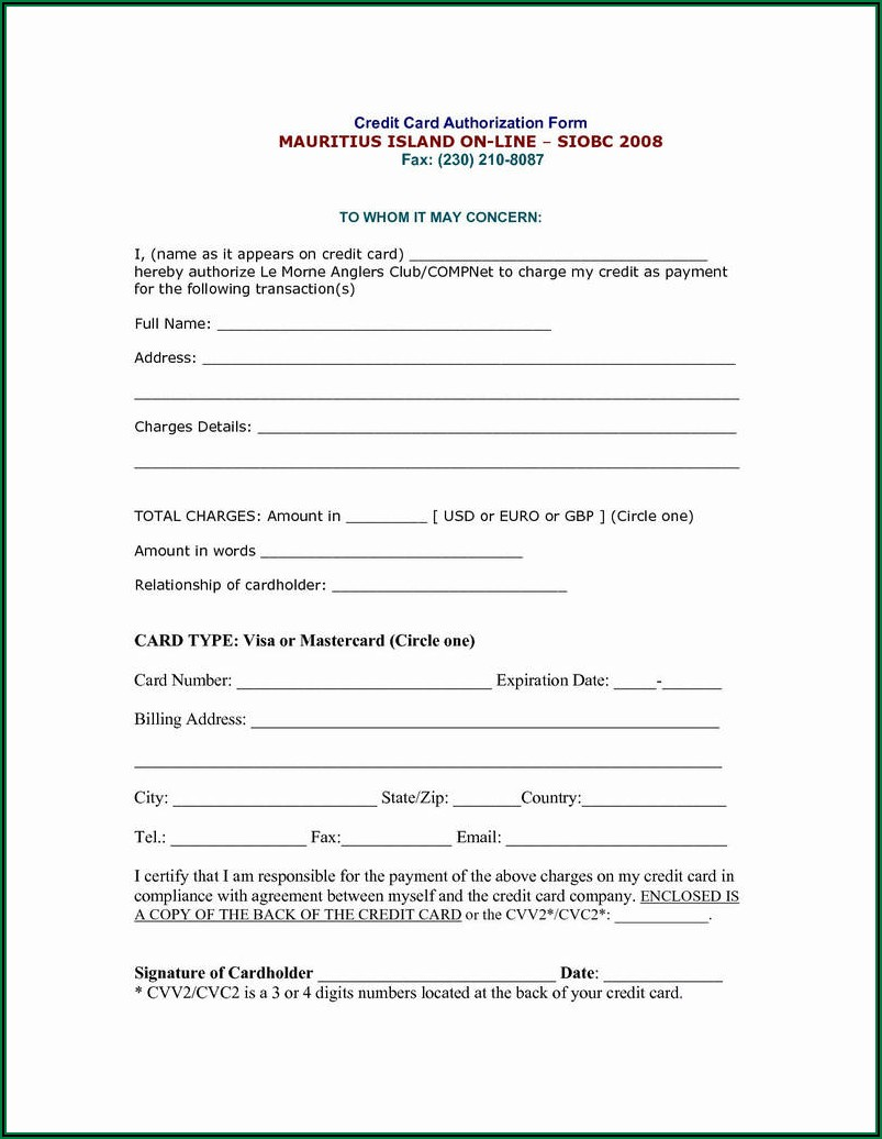 Sample Ach Credit Authorization Form