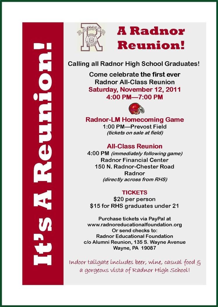 Sample Class Reunion Announcement Letter