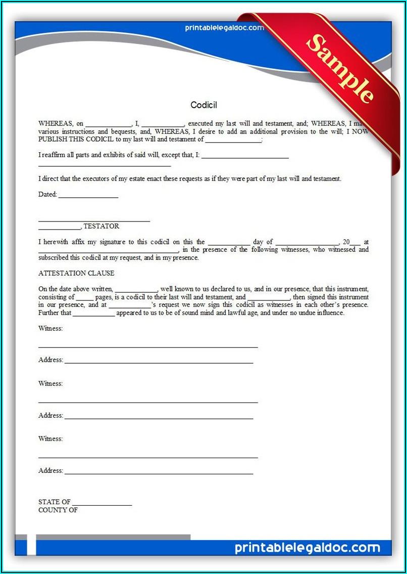Sample Codicil Free Blank Codicil Form Uk